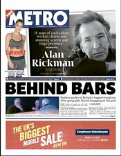 Alan Rickman 15 January 2016 Death Photo Cover News Uk Metro Newspaper 1 Day