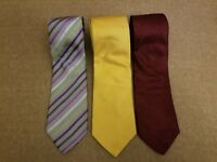 Lot of 3 Ted Baker Charles Tyrwhitt Men Tie Solid Floral Striped Silk Neckties