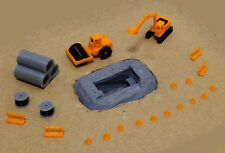 Outland Models Railway Road Pipe Work Site Accessories and Vehicles Set Z Scale