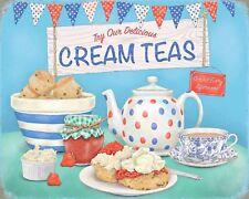 "10"" x 8"" DELICIOUS CREAM TEAS JAM SCONES TEA SHOP CAFE METAL PLAQUE TIN SIGN 060"