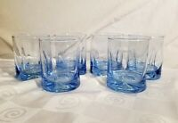 Sky Blue Pinched Glass Old Fashioned Glasses 1960's Mid-Century Modern Set of 6