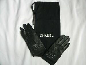 Reduced! Chanel Black Leather Unlined Driving Dress Gloves Size 6 1/2