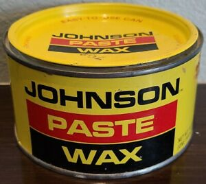 "Vintage Johnson's Paste Wax EMPTY Metal Can Household Advertising 5"" x 2.5"""