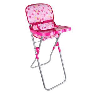 Folding Reborn Doll Dinner Chair Baby Dolls Highchair Set, for 9-12inch Doll,