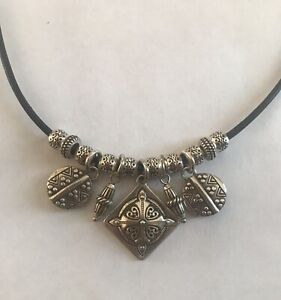 """Brighton Paseo Short Charm Necklace With Leather 16-18"""" Retail $72"""