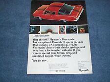 "1965 Plymouth Barracuda Formula S Vintage Ad ""Did You Know"""