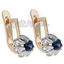 Russian USSR Vintage Style 585 14k Rose & White Gold Diamond Sapphire Earrings