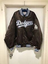Vintage 90s LA Dodgers Starter Satin Bomber Jacket Size 2XL Brown MLB Baseball