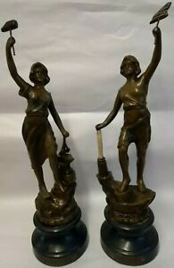Antique bronzed spelter French figurines Le Commerce & Industrie Damaged