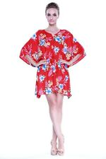 Poncho Dress Top Luau Tropical Cruise Hawaiian Tie Beach Plus Size Red Hibiscus