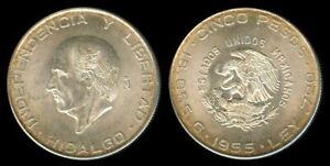 1955 Mexican Cinco Pesos HIDLAGO Silver Coin UNC #2