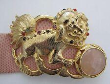 """JUDITH LEIBER Pink Snakeskin FOO DOG Belt with Cabochon Gemstones 33"""""""