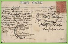 Australia - Victoria 1912 Picture Postcard, Melbourne to Singapore