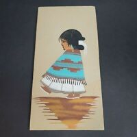 Navajo Girl Native American Sand Painting 12 x 6 Wall Hanging Decor Art