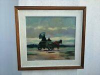 Renato Natali (Livorno, 1883 - 1979)  Carrozza  44x40 cm olio su tavola