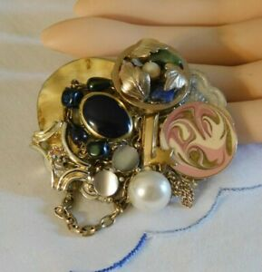 Handmade Gemstone Cluster Brooch Made From Vintage Jewelry