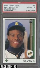 1989 Upper Deck Star Rookie #1 Ken Griffey Jr. Seattle Mariners RC HOF PSA 8