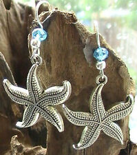 Silver Earrings Starfish Beach Nautical Summer Sea ocean mermaid fish crystal