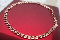 Bracelet femme 14CT Rose ou solide 3mm maillon mince chaîne Crub Link
