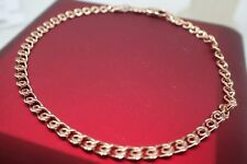 Ladies 14k 9k Rose gold Solid 3mm Slim Chain Crub Link Men's Women's bracelet