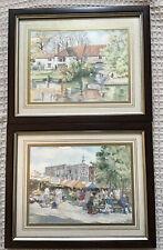 Artist Dianne Branscombe 2 Framed Norwich Prints Pulls Ferry/Norwich Market 1992