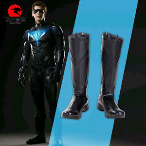 DFYM Nightwing Dick Grayson Cosplay Boots Shoes Leather Black Men Halloween