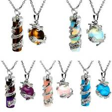 Natural Dragon Wrap Round Ball Cylinder Stone Healing Crystal Pendant Necklace