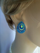 Earrings Peacock Feather Wedding Earring Surgical Steel Post Turquoise BLUE