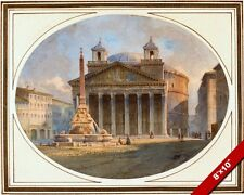 THE GREAT PANTHEON TEMPLE OF ROME ROMA WATERCOLOR PAINTING ART REAL CANVAS PRINT