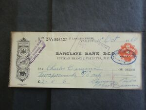 Malta Large Bank Cheque With 2d Tax Revenue 1960