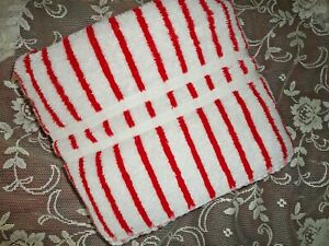 VINTAGE RALPH RED & CABANA OFF WHITE STRIPE (1) BATH TOWEL 26 X 52
