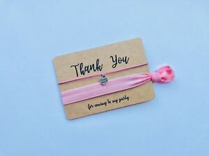 Party Bag Filler Hair Tie / Wristband & Wish Bracelet combo Thank You Favour