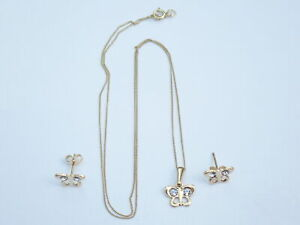 """9k Solid Gold Butterfly Pendant and Earring Set 16"""" gold Chain 1.0gms #16"""
