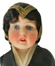 """Vintage 10"""" French Celluloid Doll Cloth Body Realistic Painted Eyes"""