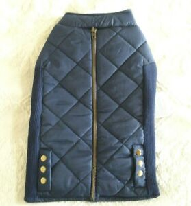 Top Paw Navy Faux Zipper Vest Dog Coat Medium