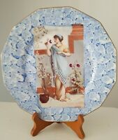 Limoges Yvonne Laroudie Porcelaines Plate Portrait Woman Holding Flower France
