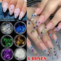 6 Boxes Nail Art Glitter Butterfly Star Holographic 3D SHAPE Shining Decorations