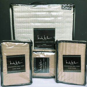 Nicole Miller CONCENTRIC BOX 4pc KING COVERLET EURO SHAMS quilt IVORY TAN Gold