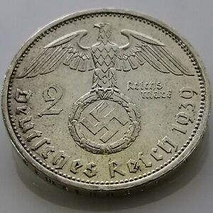 German 2 Reichsmark (1939 A) 0.625 silver coin Third Reich WW2
