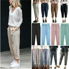 Womens Loose Wide Leg Trousers Ladies Holiday Cotton Linen Baggy Harem Pants US