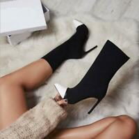 Stretch Fabric Women Pointed Toe High Heels Slip-On Sexy Sock heels Ankle Boots