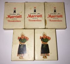 Vintage MARRIOTT AMSTERDAM Hotels Soap 60s 70s Lot of 5 Lady With Flowers RARE
