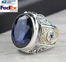 Turkish jewelry 925 Sterling Silver blue sapphire stone Mens ring ALL SİZE uss