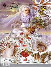 UKRAINE 2014 ** MNH BLOCK GENEROUS UKRAINE FLOWERS BIRDS WINTER