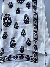 Fashionable Skeleton Print Square Silk Scarf 100cm X 100cm, White