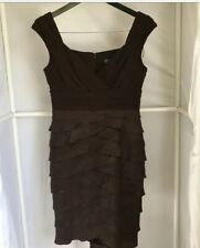 Adrianna Papell Empire Waist Shutter Dress Womens Size 8 Brown