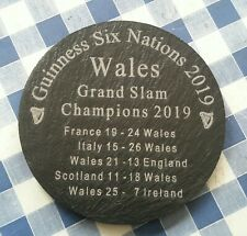 Wales Grand Slam 2019 10cm welsh slate coaster six nations