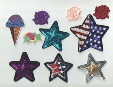 10 Assorted Iron On Patches Stars/Flowers/Ice Cream Cone Nwot