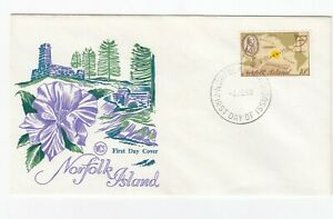 Norfolk Island 1969 Captain Cook First Day Cover - blue flower illustration