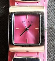 (G) SOLO ladies pink dial Quartz wristwatch with Pink leather strap